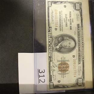 $100 Bill US Currency Paper Money  Series 1929