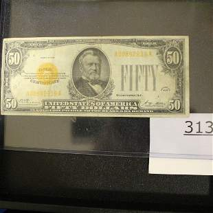 $50 Bill US Gold Currency Paper Money Series 1928