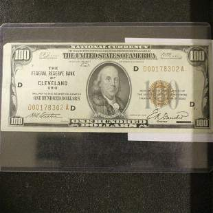 $100 Bill US Currency Paper Money Series of 1929