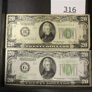 2 - $20 Bills US Currency Paper Money 1928 & 1934