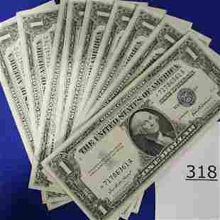 9 Star Dollar Bills Uncirculated Consecutive #s 1957