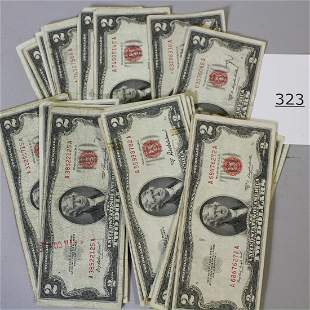 32 $2 Dollar Bills, Series of 1953,  2 Stars
