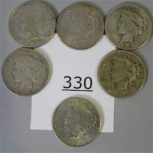 6 1934 & 1935 Silver Dollars