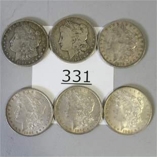 6  Silver Dollars - 1879, 1883, 1884, 1904