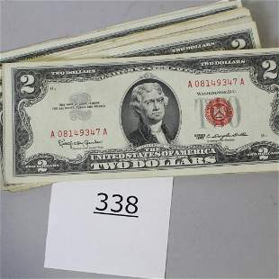 14 $2 Dollar Bills - 1953, 1963, 1976