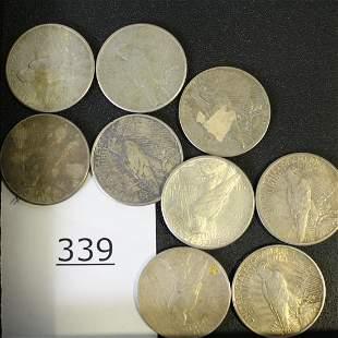 9 Silver Dollar Coins - 1926