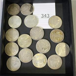 16 Silver Dollar Coins - 1922