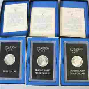 3 Carson City Uncirculated Silver Dollars