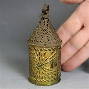 "Rare 4"" H Miniature Punched Tin Candle Lantern"