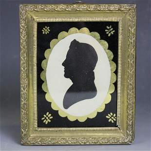 Early 1800 Gentleman's Silhouette in Brass Frame