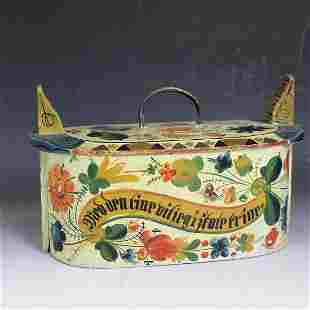 Polychrome Painted Tine / Brides Box