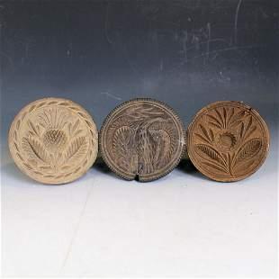 3 Carved Butter Prints - Eagle, Thistle & Flower