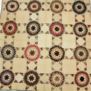 19th C Fabulous Quilt Star Burst Pattern