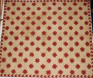 1860-90 Lemoyne Star Quilt w/ Flying Geese