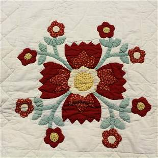 19th C Whig Rose Quilt w/ Unusual Border
