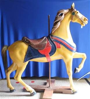1920-1950s Carved and Painted Wooden Carousel Horse