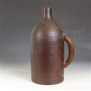 O & H Miner's Black Gunpowder Jug / Flask