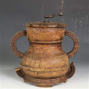 18th to Early 19th C Rare Burl Coffee Grinder