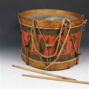 19th C Wood & Embossed & Painted Tin Drum