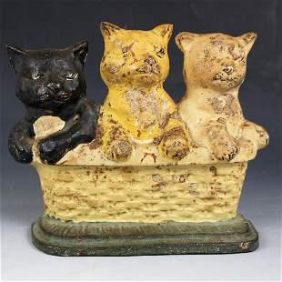 C1920s Cast Iron Kittens / Cats Door Stop