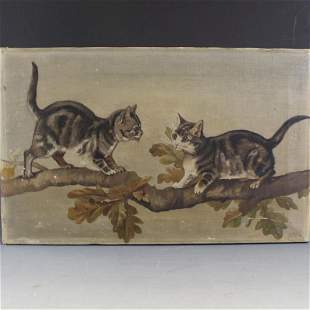 C1900 Kittens on Tree Branch Oil Painting