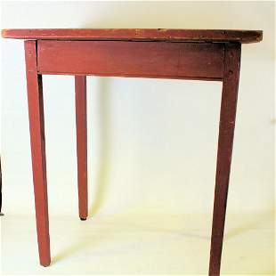 19th C Red Painted Tavern Table