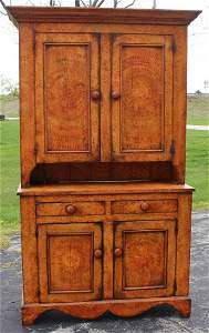 Great Painted Salmon Swirled Stepback Cupboard