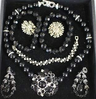 Vintage Jewelry Black Beads & Rhinestones