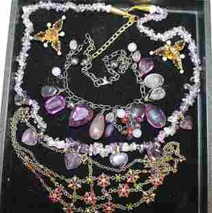 Vintage Costume Jewelry - Purple Stones