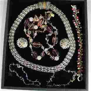 Vintage Costume Jewelry - Silvertone & Pinks