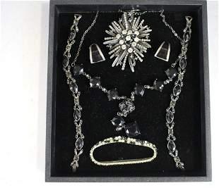 Vintage Costume Jewelry - Black & Rhinestones