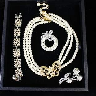 Vintage Costume Rhinestone & Pearl Jewelry