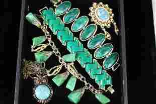 Vintage Costume Jewelry - Green Stones