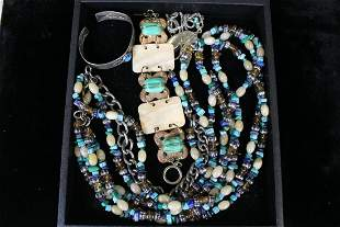 Vintage Costume Jewelry Turquoise & Beads