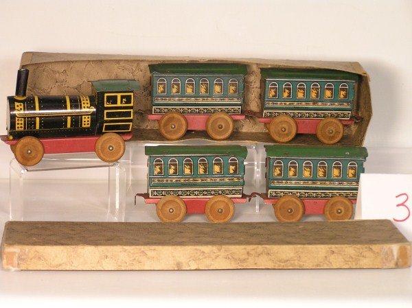3: 1920s Ohio Art #75 Railroad 5-Piece Tin Lithographed