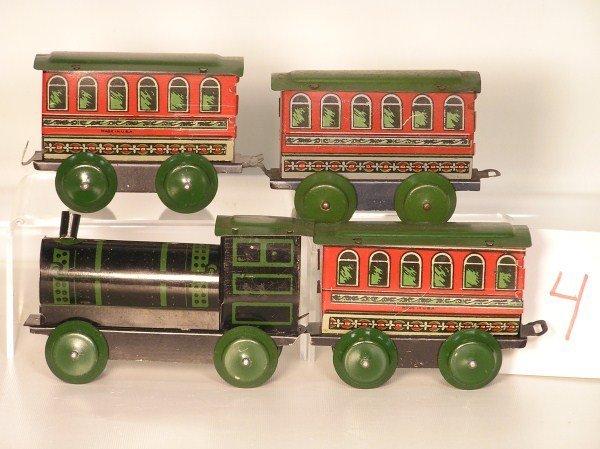 4: Early 1930s Ohio Art #85 Railroad 4-Piece Tin Lithog