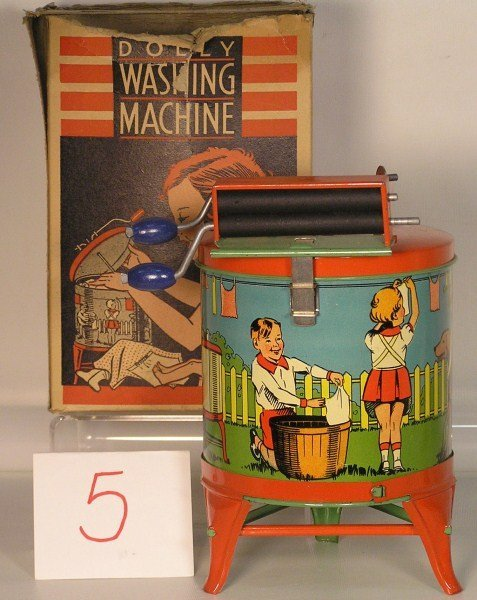 "5: 1930s Ohio Art #46-W ""Dolly"" Washing Machine with Wr"