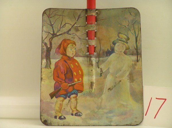 17: Early Ohio Art Lithographed Snow Shovel in Heavy Ga