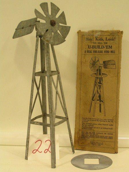 22: 1917 Ohio Art Galvanized Iron Wind Mill Complete wi