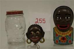 255 Black Americana Banks  Tin Pull String Animated T
