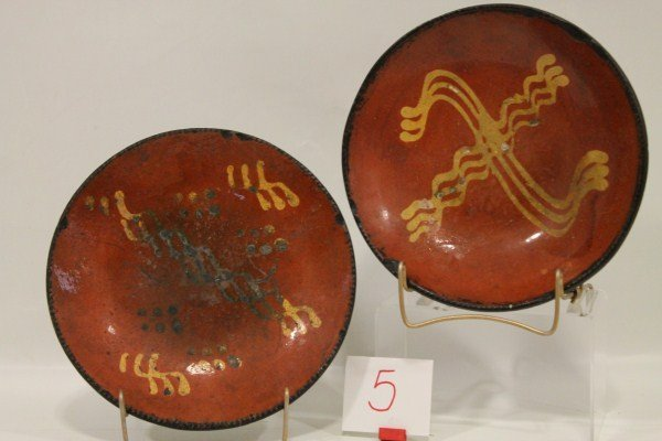 5: Early to Mid 1800s Pair of Redware Coggle Edged and