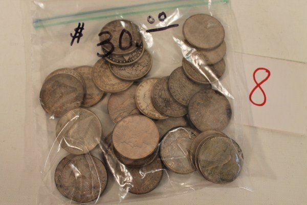8: Group of 30 Silver Dollar Coins