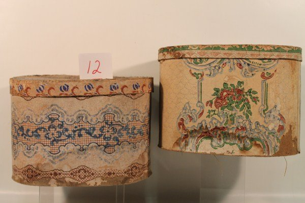 12: Pair 19th Century Wallpaper Band / Hat Boxes