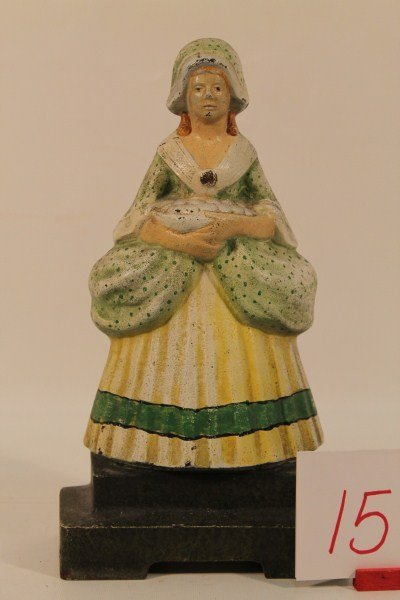 15: Cast Iron Doorstop Colonial Maiden Lady