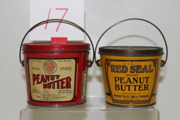 17: 1920-30s Pair Peanut Butter Tins with Bail Handles