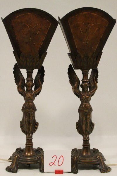 20: Pair Rembrandt Bronze Figural Full Body Angel Lamps