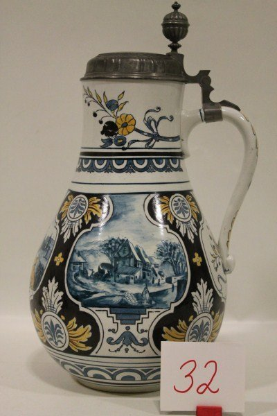 32: Villeroy & Boch - Mettlach Large Stein with Delft D