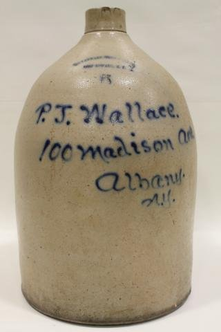 14: Large 5 Gallon Early Cobalt Decorated Script Jug