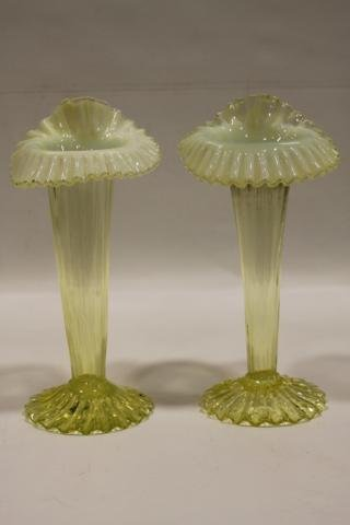 16: Pair Jack-in-the-Pulpit Vaseline Opalescent Vases