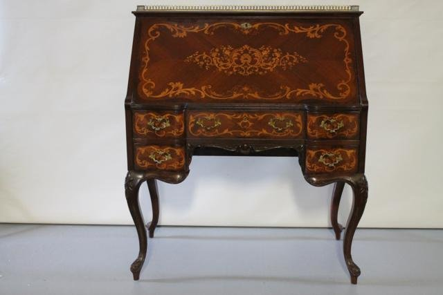 22: Early 1900s Ornate Inlaid Dropfront Desk